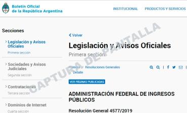 CAPTURA DE PANTALLA AFIP VEP 12 09 19